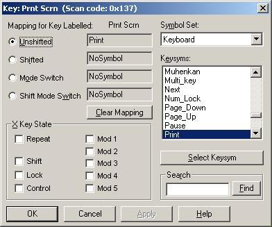Mapping the Print Screen Key in X